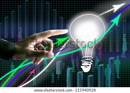 Touching Light Bulb, business concept - stock photo
