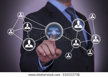 Touching Social Network Concept  - stock photo