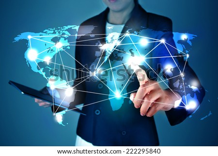 Touching virtual of social network - stock photo