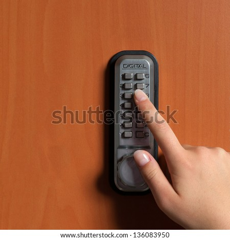 touchpanel to activate the door lock - stock photo