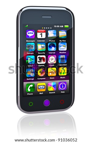 Touchscreen smart phone. Cell Smart Mobile Phone 3D. On the white background