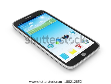 Touchscreen Smart Phone isolated on white background