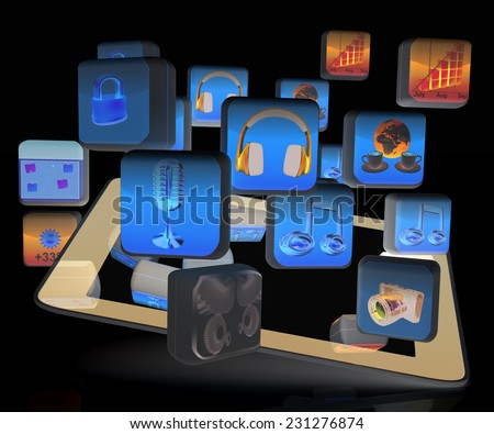 Touchscreen Smart Phone with Cloud of Media Application Icons on a black background - stock photo