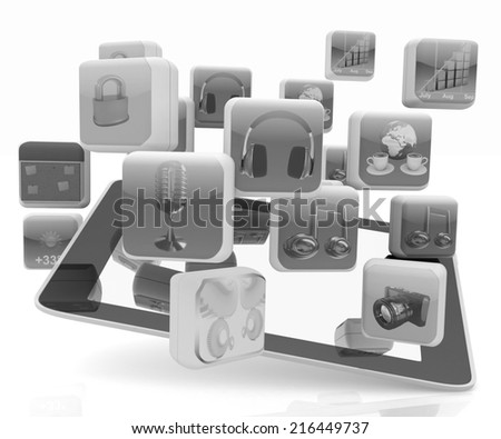 Touchscreen Smart Phone with Cloud of Media Application Icons on a white background