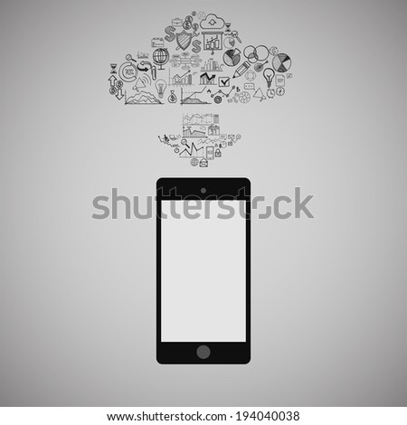 Touchscreen Smart Phone with Cloud of Media Application Icons, raster version - stock photo
