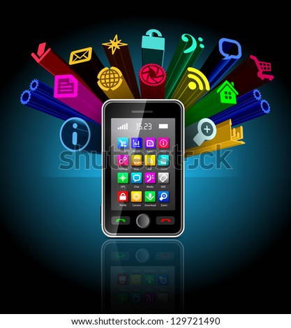 Touchscreen smartphone with applications icon on black - stock photo