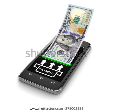 Touchscreen smartphone with dollar (clipping path included) - stock photo