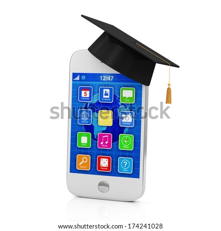Touchscreen Smartphone with Graduation Cap isolated on white background. Education Concept - stock photo