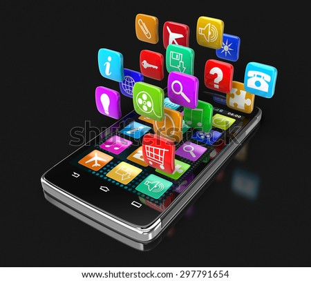 Touchscreen smartphone with pictograms (clipping path included)