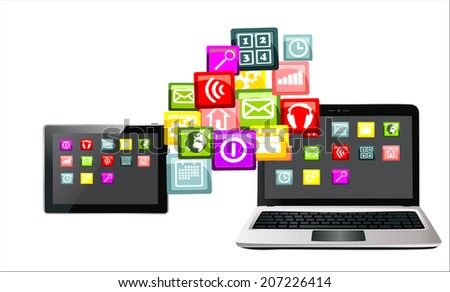 Touchscreen tablet pc and laptop with cloud of colorful application - stock photo