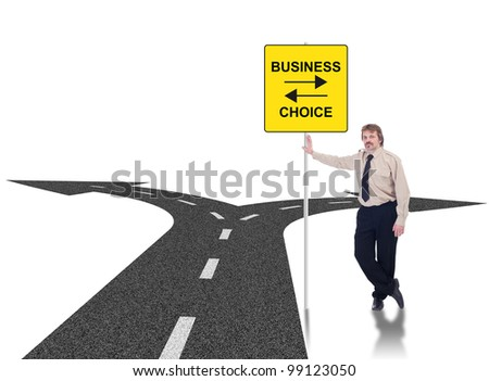 Tough business choices concept with crossroads and businessman leaning on road sign - stock photo