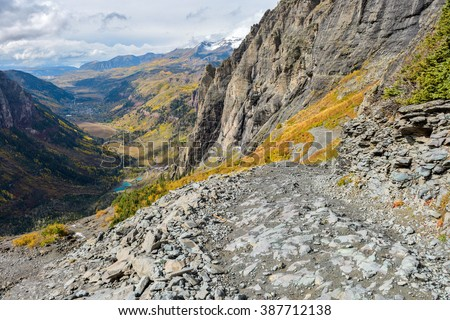Tough High Mountain Road - An autumn day on a dangerous section of the Black Bear Pass Trail, above the town of Telluride, Colorado, USA. - stock photo