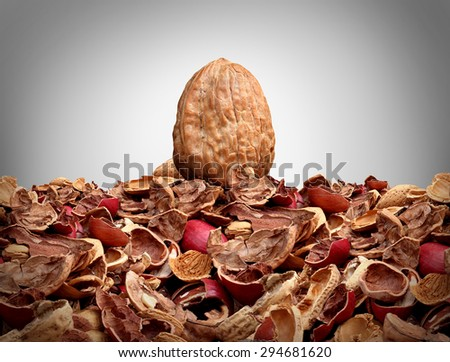 Tough nut to crack business concept as a solid hard closed walnut on top of a mountain of broken nut shells as a metaphor for difficulty solving a problem or difficult person symbol. - stock photo