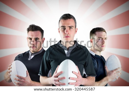 Tough rugby players against linear background