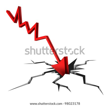 Tough times in business and financial bankruptcy due to economic conditions that cause markets to fall and prices to plummet as a red arrow crashing to a cracked ground on white background. - stock photo