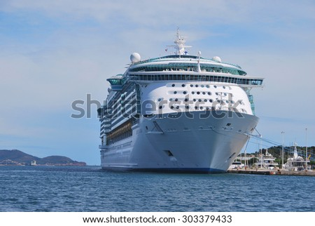 TOULON, FRANCE - SEPTEMBER 4: Cruise ship Liberty of the Seas of Royal Caribbean International moored in Toulon port on September 4, 2011 in Toulon, France.