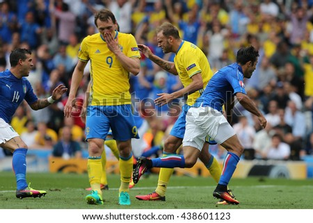 TOULOSE- FRANCE,  JUNE 2016 : Eder score the gol and celebrates  during football match  of Euro 2016  in France between ITALY VS SWEDEN at the Stade Municipal on June 17, 2016 in Toulose