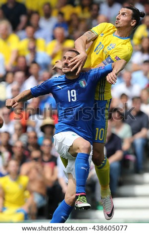 TOULOSE- FRANCE,  JUNE 2016 :Ibrahimovic Bonucci   in action during football match  of Euro 2016  in France between ITALY VS SWEDEN at the Stade Municipal on June 17, 2016 in Toulose