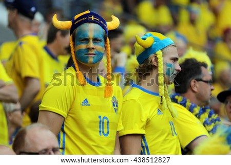 TOULOSE- FRANCE,  JUNE 2016 :  Supporters on the stands in football match  of Euro 2016  in France between ITALY VS SWEDEN at the Stade Municipal on June 17, 2016 in Toulose