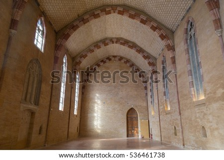 Toulouse, France - February 20, 2016: Huge hall in the Augustian convent