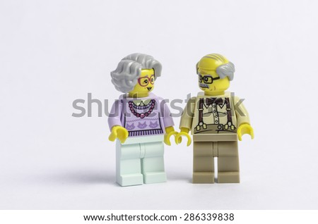 TOULOUSE, FRANCE - JUNE 10: Lego figures of an elderly couple in Toulouse, France on 10 June, 2015 - stock photo