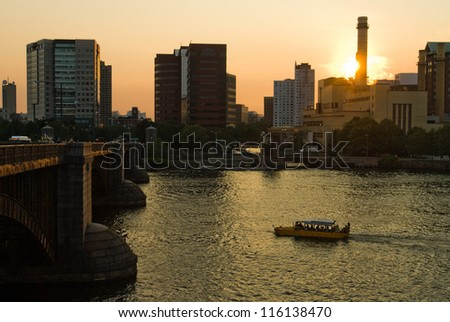 Tour boat on the Charles River, Boston - stock photo