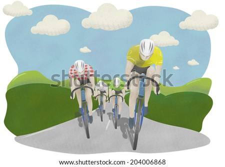 Tour de France cyclists with colored jerseys - stock photo