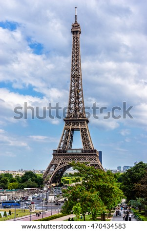 Tour Eiffel (Eiffel Tower) located on Champ de Mars in Paris, named after engineer Gustave Eiffel. Tower is tallest structure in Paris and most visited monument in world. France. View from Trocadero.