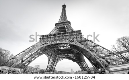 Tour Eiffel Paris in black and white in winter time