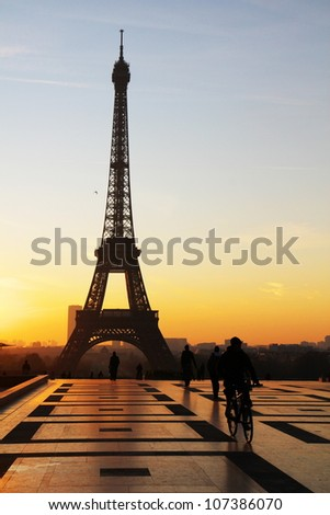 tour eiffel view during sunrise - stock photo