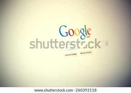 Tourin, Italy - March 14, 2015: Google website home page  in Tourin, Italy. Google is an American multinational corporation specializing in Internet-related services and products. - stock photo