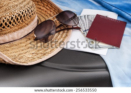 tourism background with money, tickets, passport for the trip - stock photo