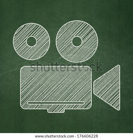 Tourism concept: Camera icon on Green chalkboard background, 3d render - stock photo