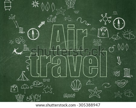 Tourism concept: Chalk Green text Air Travel on School Board background with Scheme Of Hand Drawn Vacation Icons, 3d render