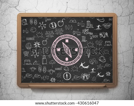 Tourism concept: Chalk Pink Compass icon on School board background with  Hand Drawn Vacation Icons, 3D Rendering