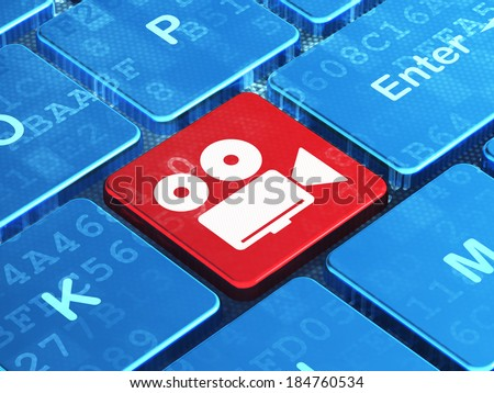 Tourism concept: computer keyboard with Camera icon on enter button background, 3d render - stock photo