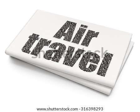 Tourism concept: Pixelated black text Air Travel on Blank Newspaper background