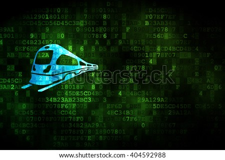 Tourism concept: pixelated Train icon on digital background, empty copyspace for card, text, advertising - stock photo