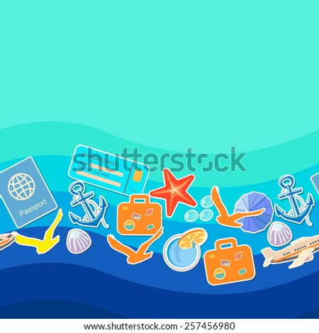 Tourism concept seamless pattern, summer holiday background  and place for text - stock photo