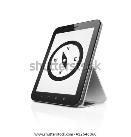 Tourism concept: Tablet Computer with  black Compass icon on display,  Tag Cloud background, 3D rendering