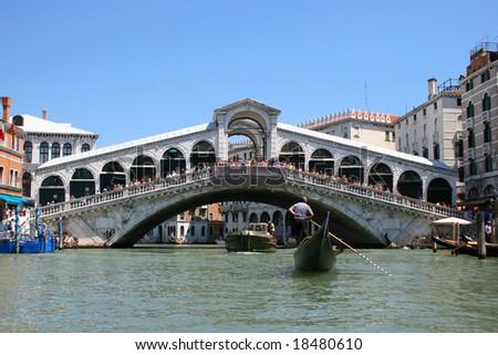 Tourism in Venice. Bridge Rialto - stock photo