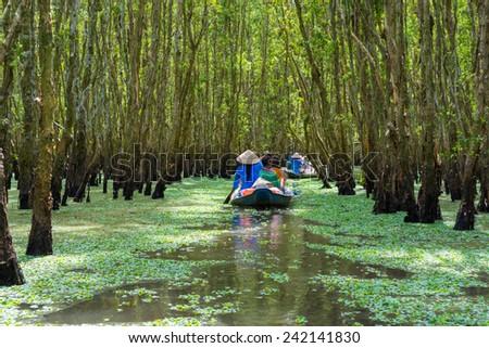 Tourism rowing boat in Mekong delta, Vietnam