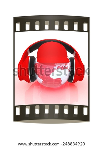 Tourism. The world music concept. The film strip - stock photo