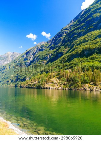 Tourism vacation and travel. Mountains and fjord at summer in Norway, Scandinavia.