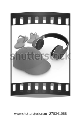 Tourism. World music concept on a white background. The film strip - stock photo