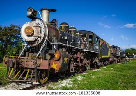 Tourist attraction in Trinidad and Iznoga - steam train, historic locomotive, Cuba - stock photo