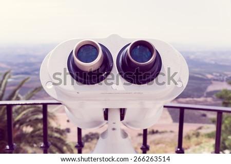 tourist binocular - stock photo