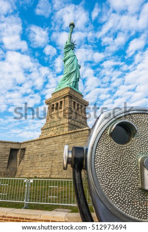 Tourist binoculars at Statue of Liberty, New York City , USA