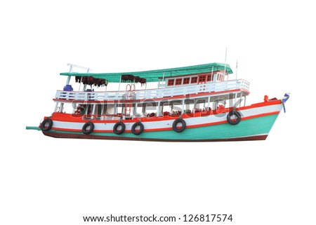 Tourist boat modified from fishing on white background.