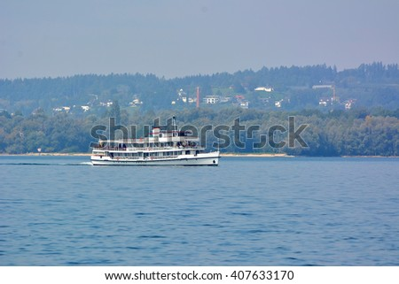 Tourist boat on Constance lake in Bregenz, Austria